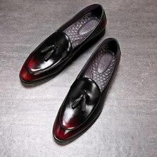 남자 드레스 신발 수제 남자 로퍼 paty 가죽 웨딩 신발 남자 플랫 가죽 oxfords 공식 신발