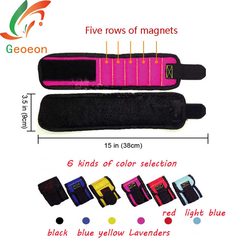 Geoeon 1Pcs Strong Magnetic Magnet Wristband Suitable For Woodworking Wear The Screw Accessory Wrist Strap Kit On The Wrist A28