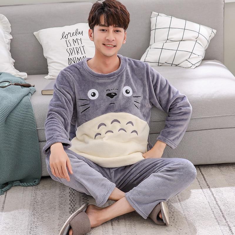 82e577405403 Dropwow Fashion cartoon Pajamas Set Men s Clothing Winter Coral ...