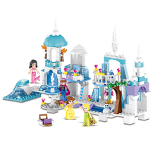 4 IN 1 Dream Princess Elsa Ice Castle Princess Anna Set Model Building Blocks Gifts Toys Compatible LegoINGly Friends DBP486 203pcs friends vet clinic princess anna and kristoff s sleigh model set building blocks friends gifts toys princess