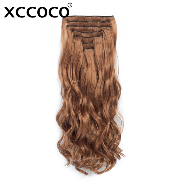 XCCOCO Clip In Women s Hair Extensions Wavy 155g Hair Natural 7 Pieces Set 20  Inch Heat Resistant 63ac32cfde
