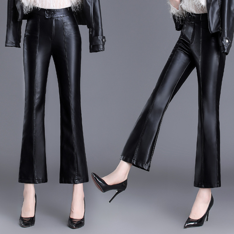 Women's Pants Pu Leather Pants 2019 New Faux Leather Flare Pants For Women Casual High Waist Slim Female Pants M 4XL