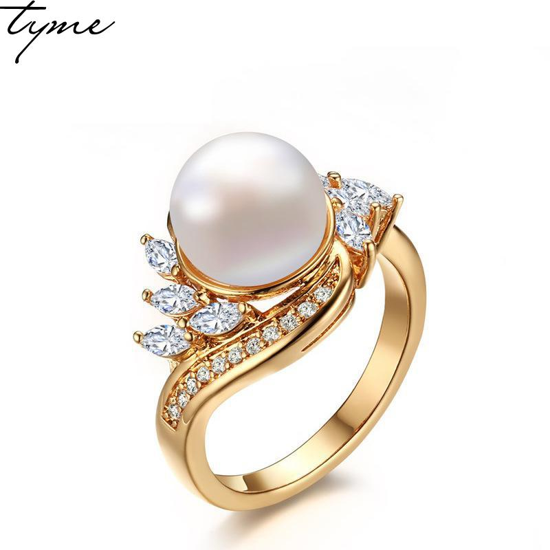 2017 Hot 3mm width Fashion Simple exquisite Gold-color copper pearl ring for woman jewelry white zircon ms pearl Wedding ring simple faux zircon opening ring for women