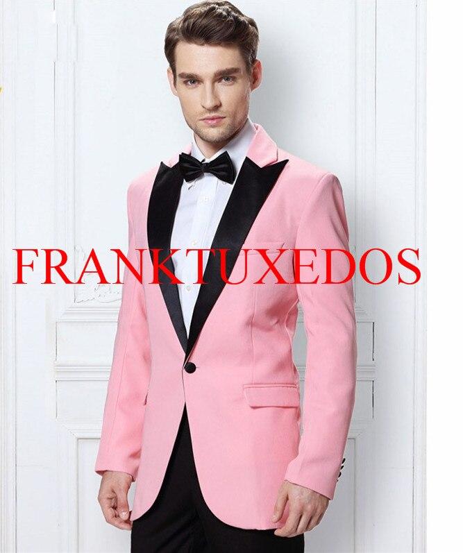 2017 moda rosa un traje hombres Botones novio Esmoquin muesca solapa ...
