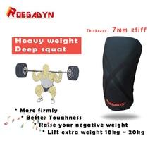 ROEGADYN 7 мм крестовая жесткая Неопреновая профессиональная качественная поддержка колена силовой спортивный компрессионный наколенник рукав, медведь тяжелый вес, унисекс