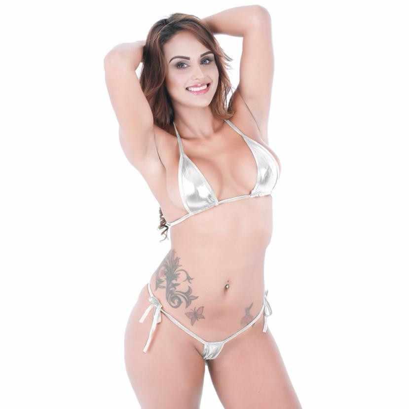 Damskie bikini micro przyciągające wzrok błyszczące Bikini mikro stanik + stringi zestaw strój kąpielowy kobieta stringi