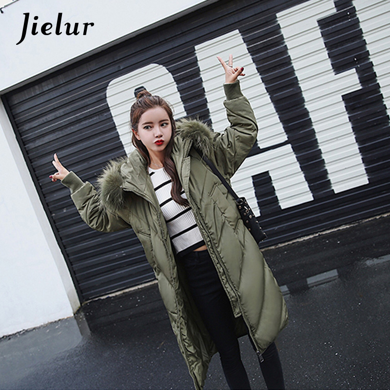 2017 New Winter Parka Women Solid Color Fur Collar Hooded Women's Down Jacket Long Fashion M-2XL Loose Zipper Warm Coat Female цены онлайн