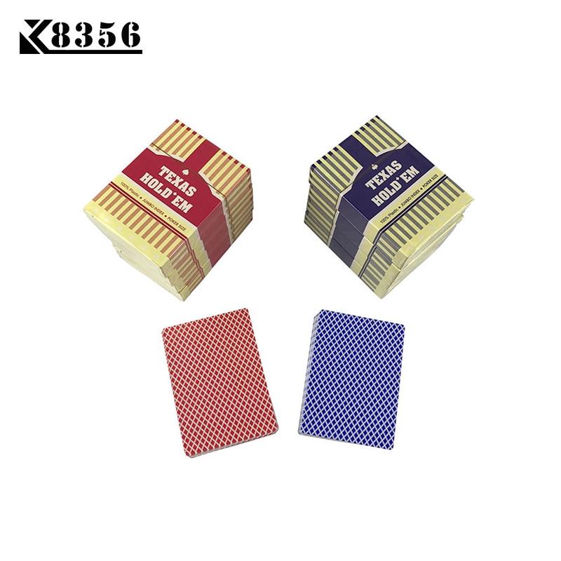 K8356 BARU HOT 10 Sets / Lot Baccarat Texas Hold'em Plastik Bermain Kartu Tahan Air Frosting Poker Kartu Papan Game 2.48 * 3.46 inch