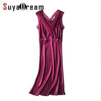 Women Lace nightgowns 100%Real Silk Sexy V neck Sleep dress Solid SATIN nightdress nightie Summer style pink Wine Blue 2018