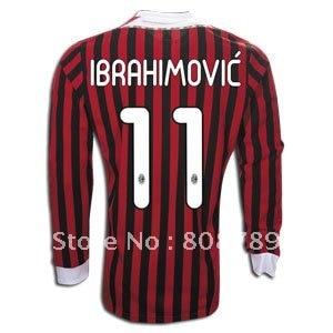 size 40 6e69b 72ea5 1pcs top quality 2011 12 AC Milan home red 11# IBRAHIMOVIC ...