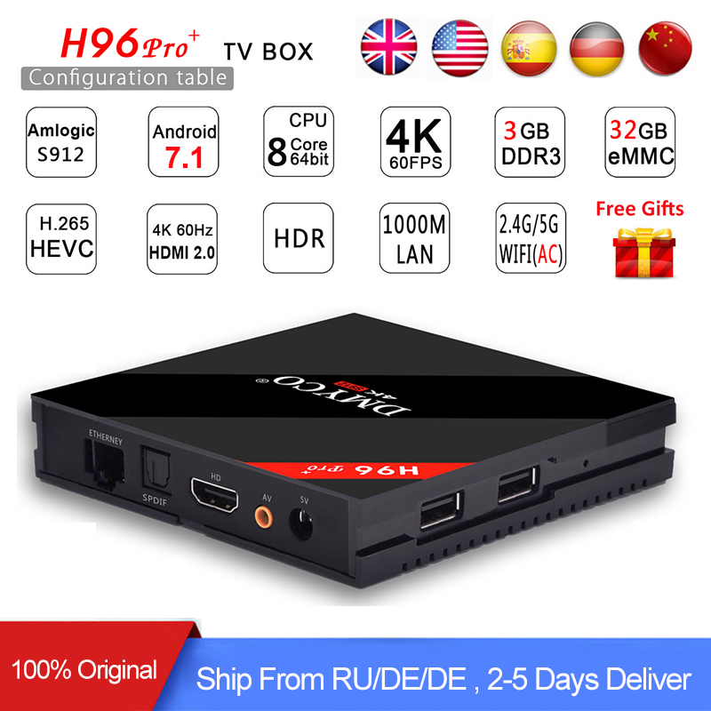 H96Pro H96 Pro + Amlogic s912 Android Tv Box 7.1 RAM 3 gb ROM 32 gb 1000 m LAN Bluetooth 4.1 4 k HDMI Smart Media Player h96 pro plus