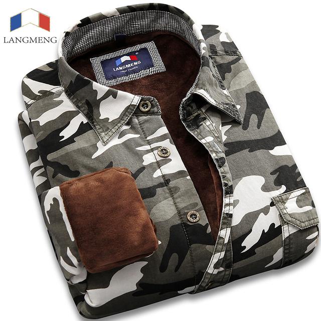 Langmeng 2016 caliente 100% del Algodón de camuflaje para hombre de manga larga camisa casual Hombres Meisai Camuflaje de Combate Del Ejército Outwear Militar
