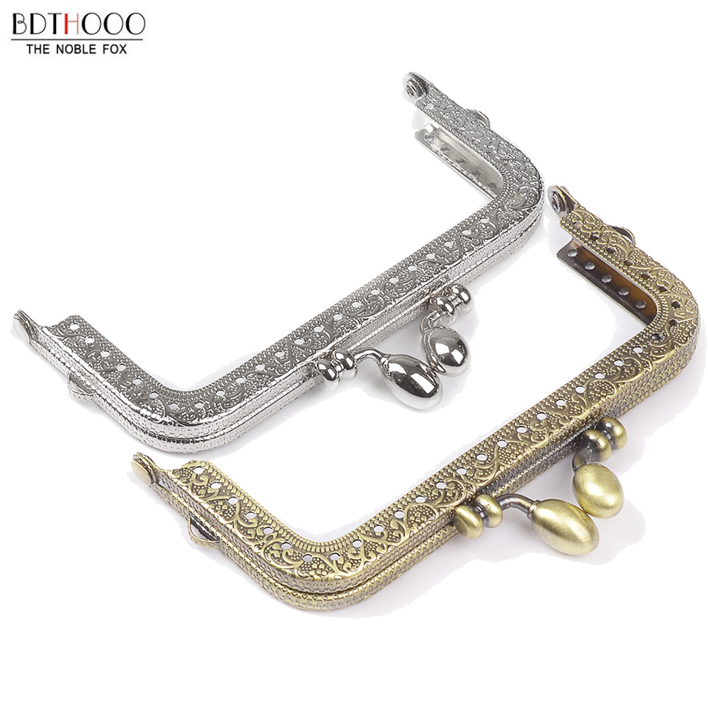 10.5cm Square Metal Purse Frame Handle For Clutch Bag Handbag Accessories Making Kiss Clasp Lock Bronze Tone Bags Hardware