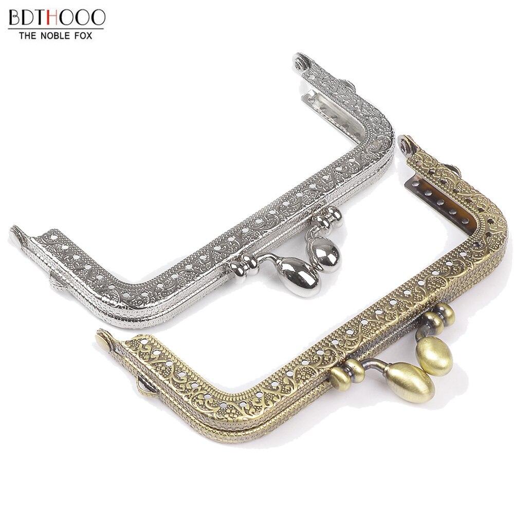 10.5cm Square Metal Purse Frame Handle For Clutch Bag Handbag Accessories Making Kiss Clasp Lock Bronze Tone Bags Hardware