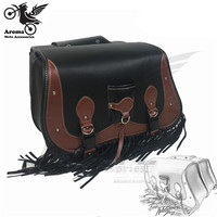 big size leather retro decal motorbike tool bags unviersal cafe brown moto side bags for harley 750 883 saddlebag moto tail bag