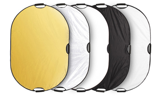 ФОТО Photo Studio 43x65 inch 110x165 cm 5-in-1 Translucent/Gold/Silver/White/Black Oval handle hand held  Reflector with  Case