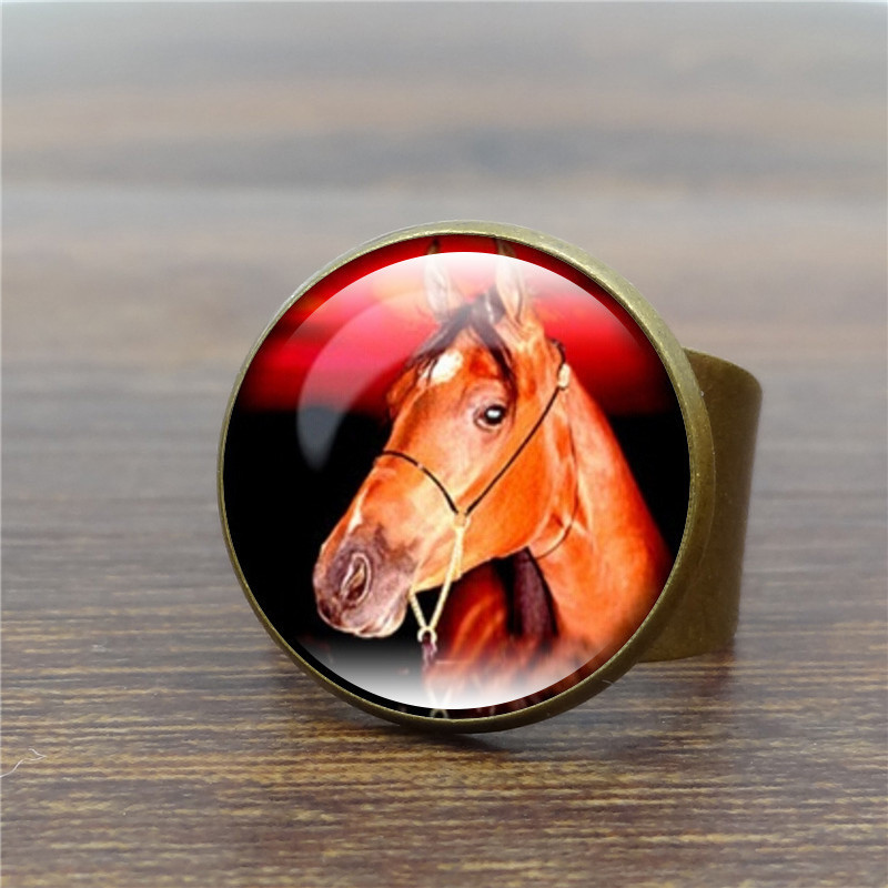 Sue Phil horsehead time gem glass rings The bronze ring restoring ancient Fashion Animal Jewerly horse logo rings drop shipping