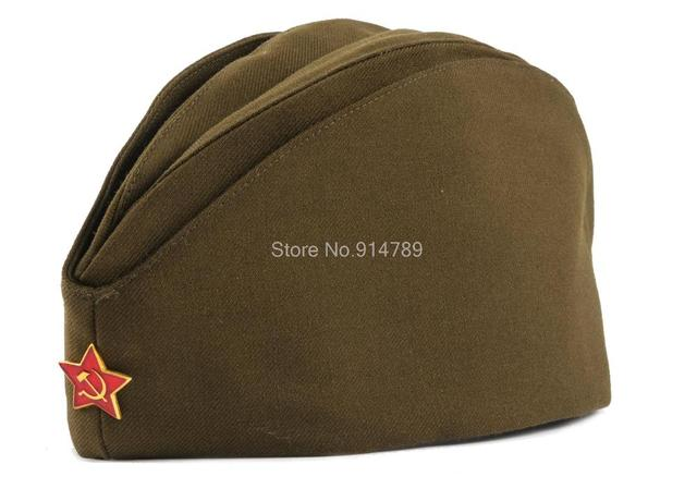 WWII USSR SOVIET MILITARY ARMY GARRISON CAP WITH BADGE L-35381