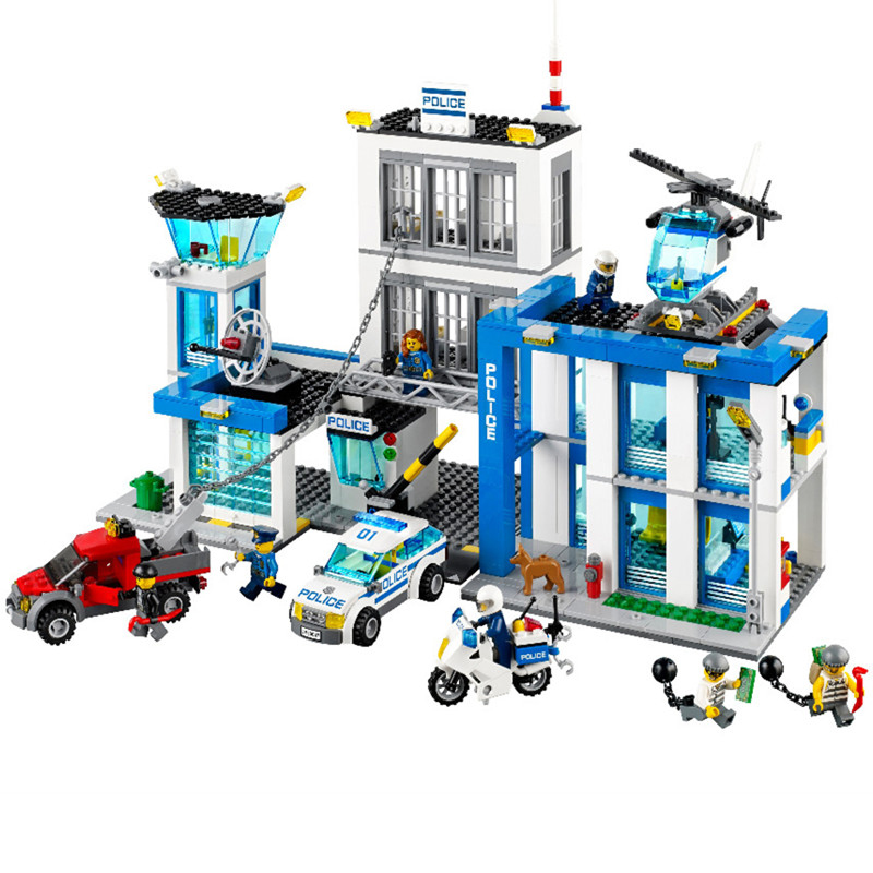 890Pcs 10424 City Police Station Motorbike Helicopter Model Building Kits Compatible With City 60047 Blocks Educational Toys qunlong 1397pcs city police station motorbike helicopter model building kits compatible with legoe city blocks educational toys
