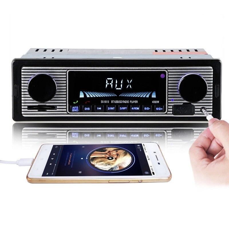 12 V Bluetooth Vintage Auto Radio Mp3 Player Stereo Usb Aux Fm Radio Station Bluetooth Mit Fernbedienung Fm Radio Empfänger GläNzende OberfläChe
