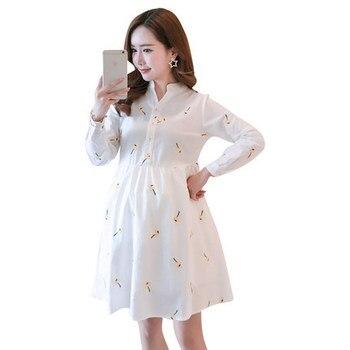 a655dcea6b5ad32 Oklady 2019 Новое модное платье-рубашка для беременных Повседневная Одежда  для беременных кормящих с длинными рукавами полосатый Одежда для бер.