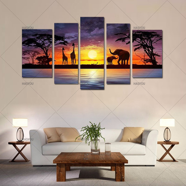 wall art for home office. Handpainted Large 5 Piece Wall Art Elephant Africa Oil Paintings  Landscape For Lobby Home Office Wall Art For Home Office T