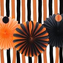 orangeblack halloween decoration kit halloween paper pinwheels crepe paper curtains streamer backdrop halloween party decor - Halloween Decorations Paper