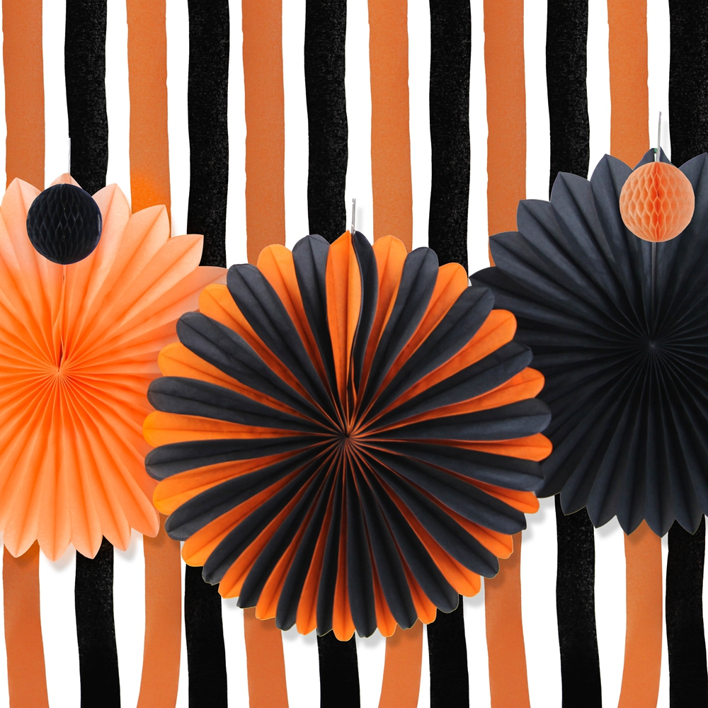 orangeblack halloween decoration kit halloween paper pinwheels crepe paper curtains streamer backdrop halloween party decor - Cheap Halloween Party Decorations