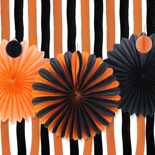 Naranja negro Halloween decoracin Kit de Halloween pinwheels papel crep Cortinas streamer teln de fondo Halloween party decor en Partido