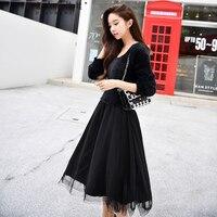 Оригинальный vestidos verano 2018 бренд на осень зиму Длинные рукава тонкий свитер сетки Лоскутная черное длинное платье женская обувь оптом
