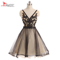 New Hot Prom Dresses Short Party Dress A line V Neck Black Lace Tulle Sexy Open Back Girls Homecoming Gown