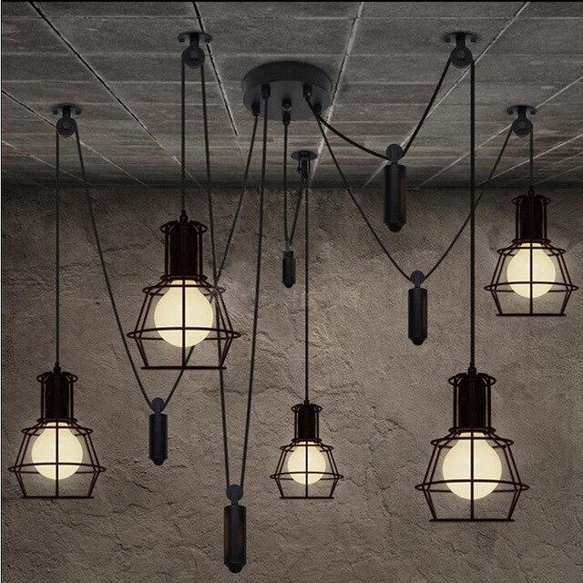 Loft Industrial Style Iron Cages Pendant Lights Bar Counter Loft ...