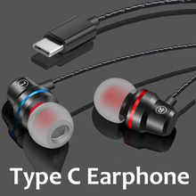 Type C Earphone For Xiaomi Redmi Note 7 K20 Metal Wired Earbuds Stereo Headset Samsung S10 5G Oneplus Pro Headphone