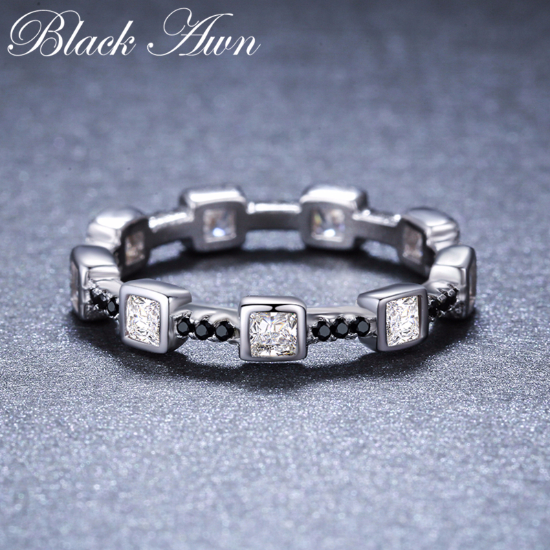 Casual 2g 925 Sterling Silver Fine Jewelry Trendy Engagement Bague Black Spinel Leaf Women's Wedding Ring Bijoux Femme G008