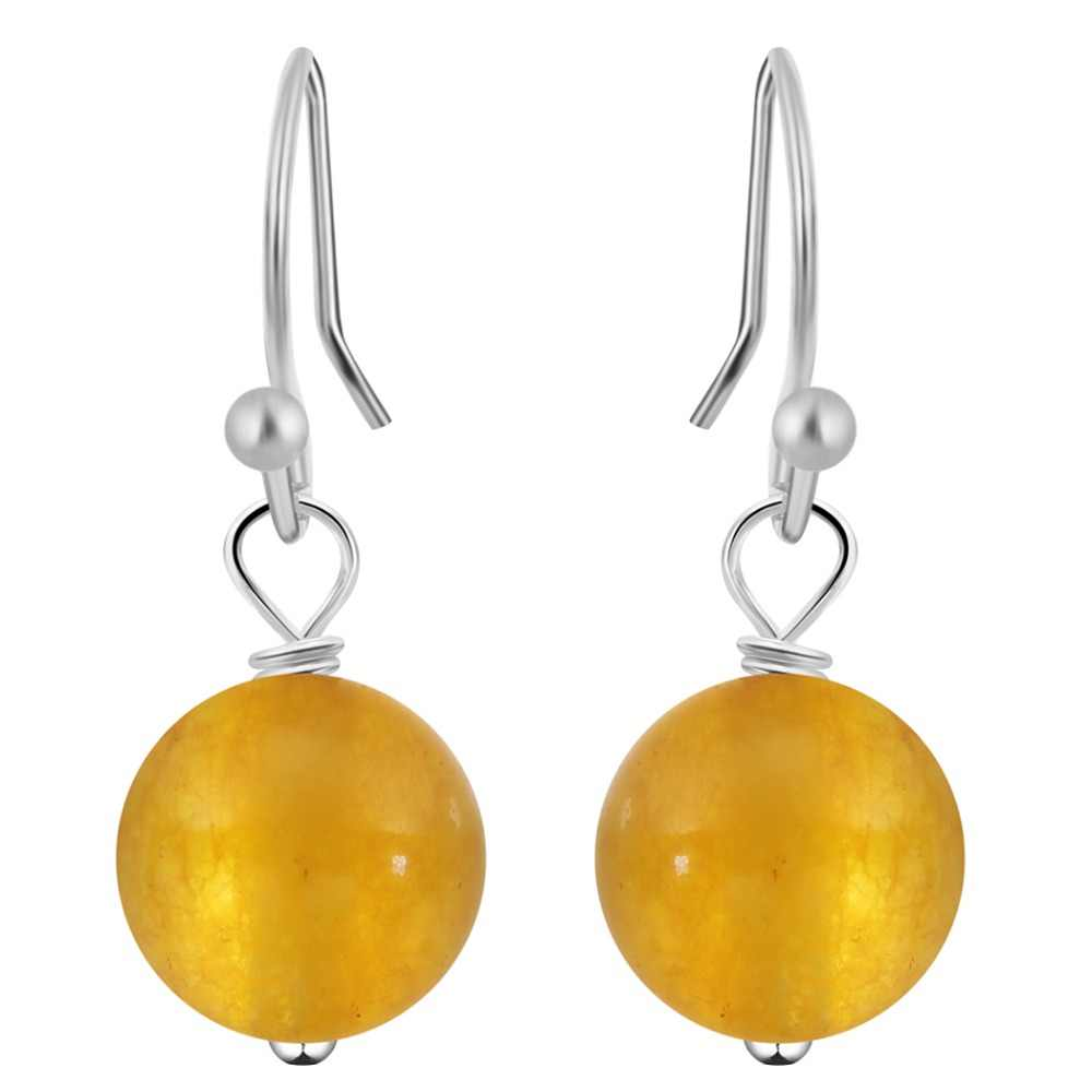 QIMING Natural Round Yellow Loose Stone Beads Dangling Earring Purple Chalcedony Vintage Earrings for Women Teen Girls