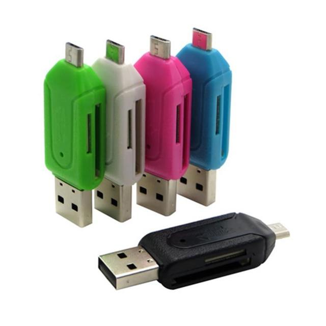 2 en 1 Micro Adaptador USB OTG Universal Micro USB TF/lector de tarjetas SD para Android PC TF/tarjeta SD adaptador adaptadores de teléfono móvil