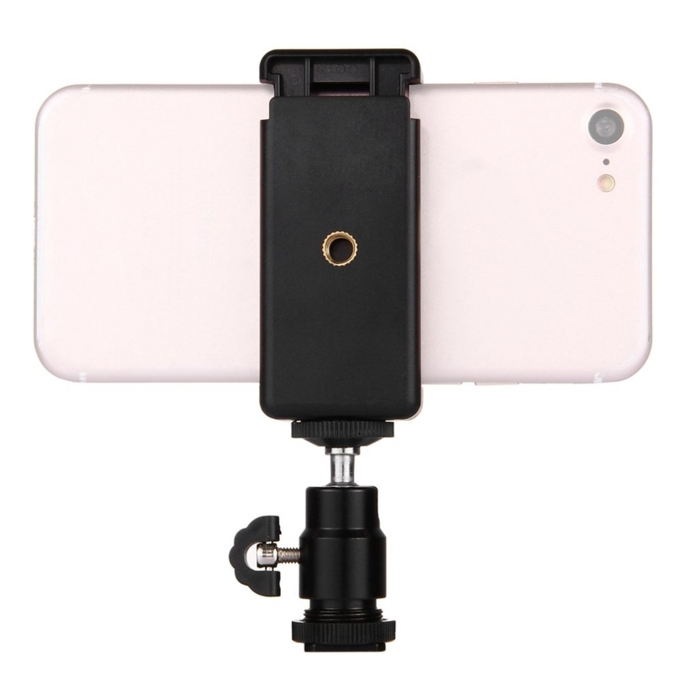 PULUZ Tripod-Stand Clamp Hot-Shoe Smartphones-Phones Universal Black Stable for 360-Degrees