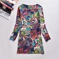 Mujeres de talla grande ropa de primavera otoño moda flor imprimir mujeres dress primavera informal de manga larga de las señoras vestidos vestidos mz1386