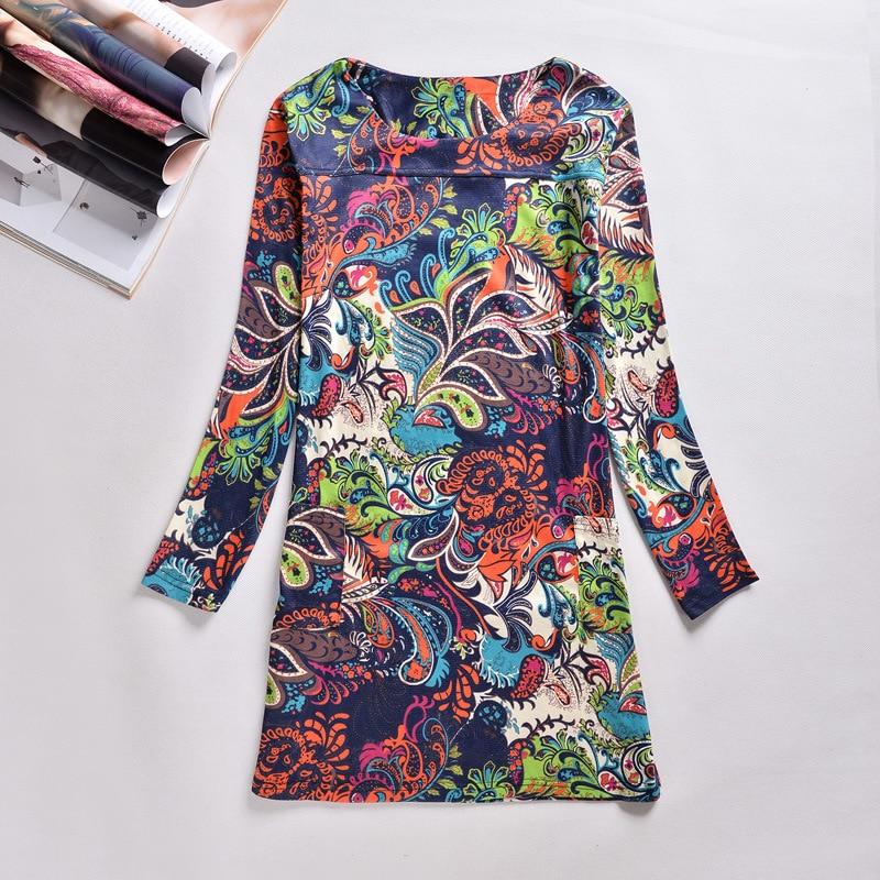 Plus Size Women Clothing Spring Fall Fashion Flower Print Women Dress Ladies Long Sleeve Casual Spring Dresses Vestidos MZ1386