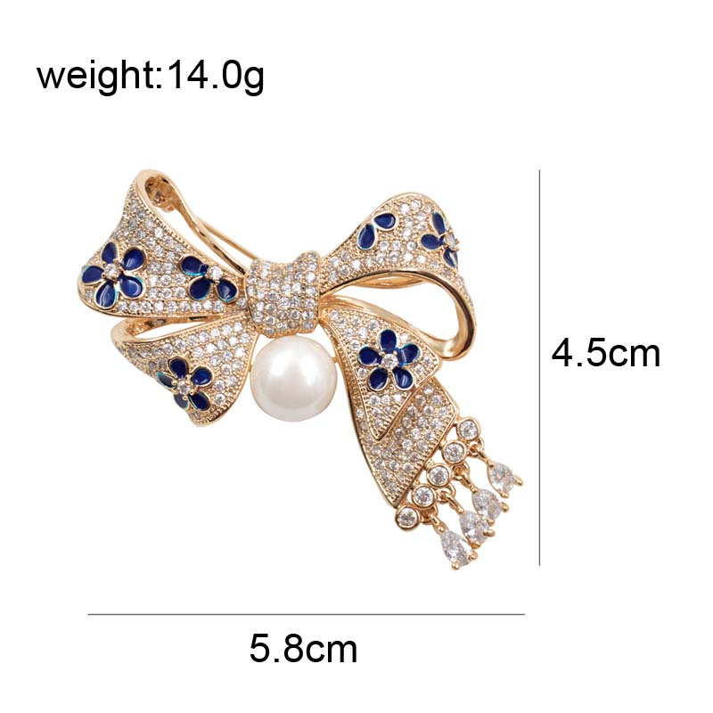 CINDY XIANG AAA Zircon Micro pave Bow Brooches for Women Exquisite Bowknot With Pendant Brooch Pin Wedding Jewelry Bijouterie in Brooches from Jewelry Accessories