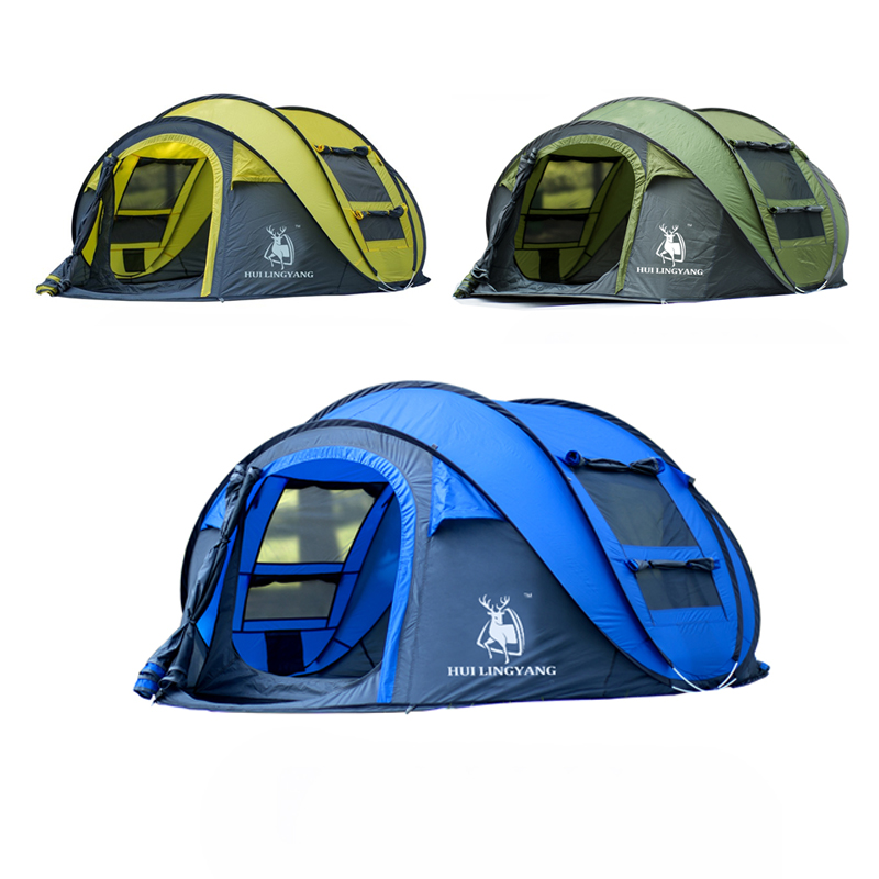 HLY outdoor 3-4persons automatic speed open throwing pop up windproof waterproof beach camping tent large space image