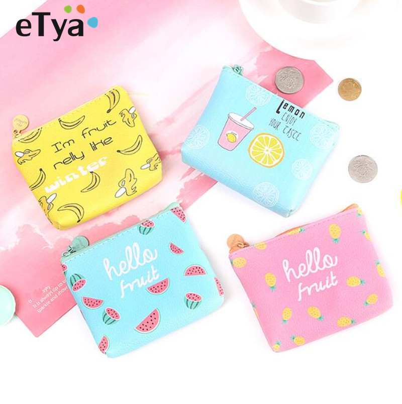 eTya Cartoon Cute Women Small Coin Purse Wallet Girls Bag Female Pu Leather Banana Key Money Card Holder Case Pouch 2017creative cute cartoon coin purse key chain for girls pu leather icecream cake popcorn kids zipper change wallet card holder