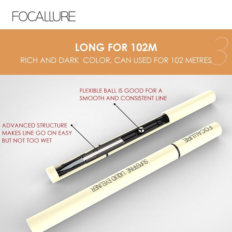 FOCALLURE black liquid eyeliner pencil waterproof 24 hours long lasting eye makeup smooth easy to wear Eye liner pen 5