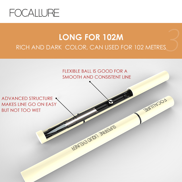 FOCALLURE Black Liquid Eyeliner Pencil Waterproof  24 hours Long Lasting Eye Makeup smooth Superfine Eye Liner Pen 5