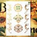 SHNAPIGN 24 стиль Временное боди-арт, зеленый золотой цветочный узор дизайн, флэш-стикер татуировки держать 3-5 дней Водонепроницаемый 21*15 см