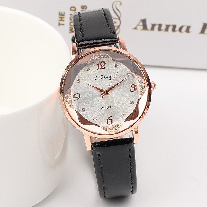 New Fashion Gogoey Brand Rhinestone Leather Watches Women ladies casual dress quartz watch reloj mujer go4412 kingsky women new casual watches brand famous quartz fashion reloj mujer 021052 2017 new arrivial free shipping