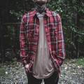 Euro Size High Street Rock Hip hop Oversize Long Sleeve Red Plaid Ripped Shirts Men Scotland Style Distressed Streetwear Shirts
