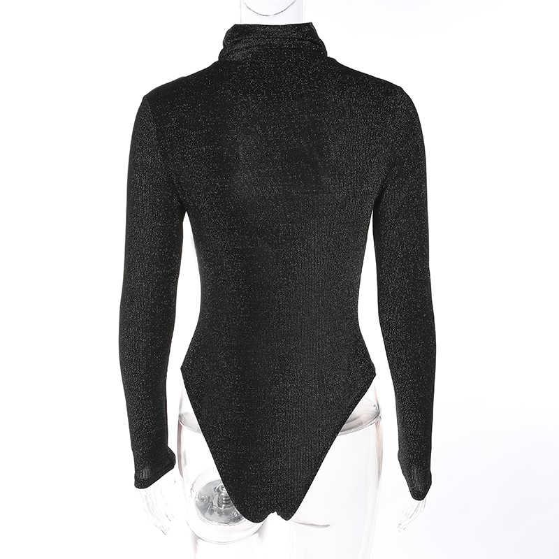 Weekeep женский сексуальный черный Боди Boydycon Осень Зима Водолазка с длинным рукавом боди Повседневный Блестящий Комбинезон Combinaison