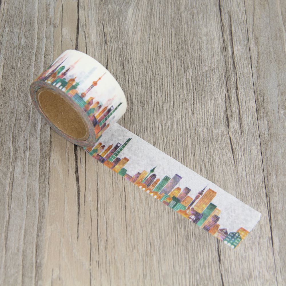 Colorful City China Shanghai Town Buildking Masking Tapes Washi Tape Scrapbooking Sticker Decorative Stickers Party Favors