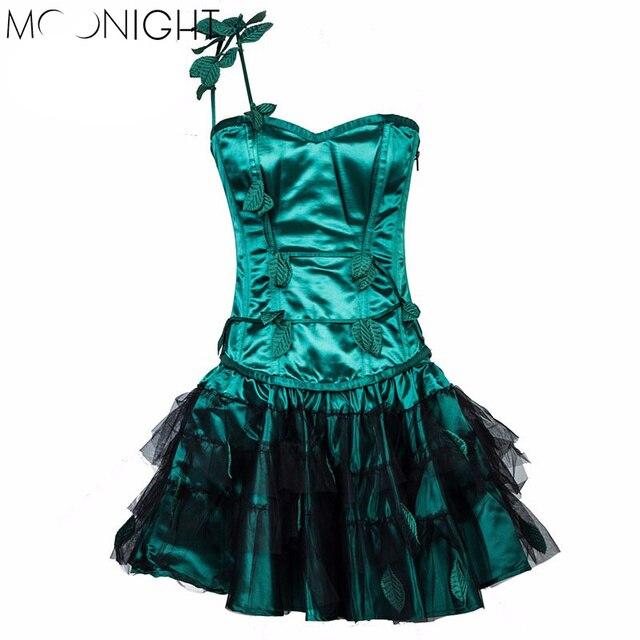 MOONIGHT Green Women Steampunk Corsets Dress Vintage Bustier Top Gothic Overbust Corset Dress Waist Corset Waist Trainer S-2XL